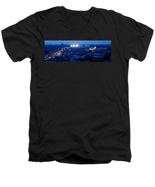 Aerial View Of A City, Wrigley Field Men's V-Neck T-Shirt by Panoramic Images