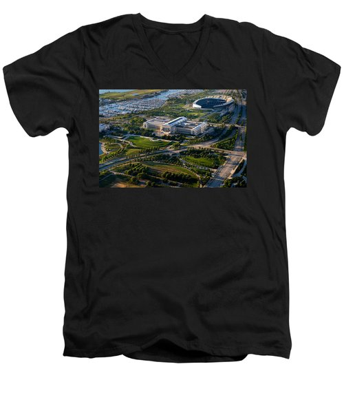 Aerial View Of The Field Museum Men's V-Neck T-Shirt by Panoramic Images