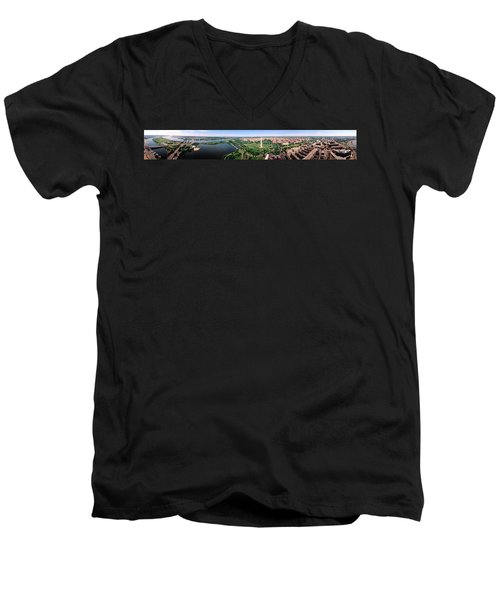 Aerial Washington Dc Usa Men's V-Neck T-Shirt by Panoramic Images