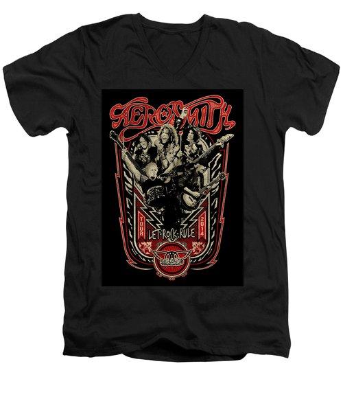 Aerosmith - Let Rock Rule World Tour Men's V-Neck T-Shirt by Epic Rights