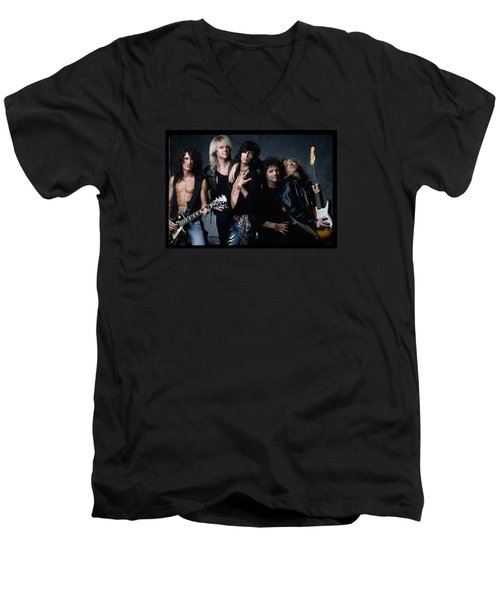 Aerosmith - Let The Music Do The Talking 1980s Men's V-Neck T-Shirt by Epic Rights