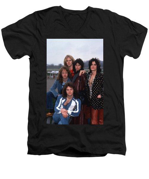 Aerosmith - Terre Haute 1977 Men's V-Neck T-Shirt by Epic Rights