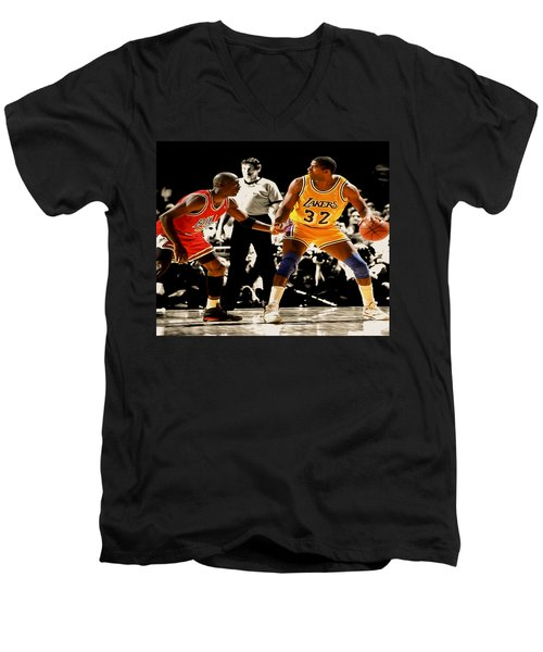 Air Jordan On Magic Men's V-Neck T-Shirt by Brian Reaves