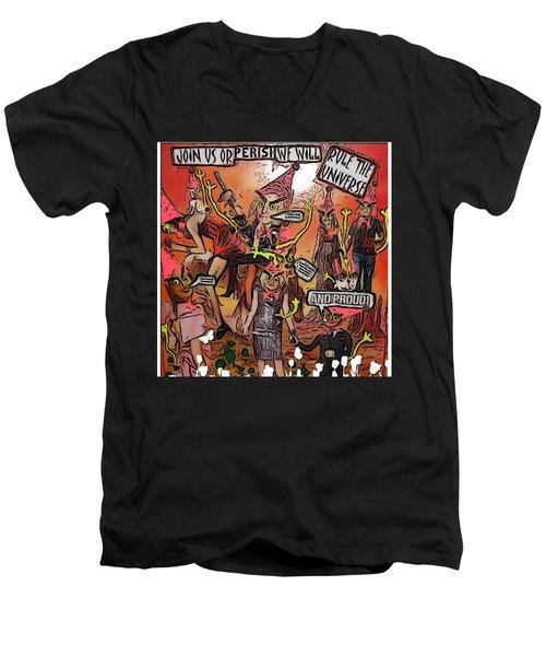 Alien Nation Men's V-Neck T-Shirt by Lisa Piper Menkin Stegeman
