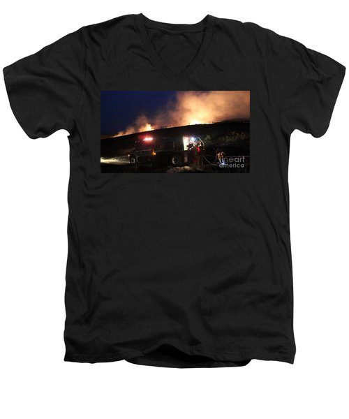 Men's V-Neck T-Shirt featuring the photograph An Engine Crew Works At Night On White Draw Fire by Bill Gabbert