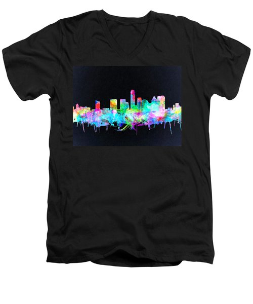 Austin Texas Skyline Watercolor 3 Men's V-Neck T-Shirt by Bekim Art