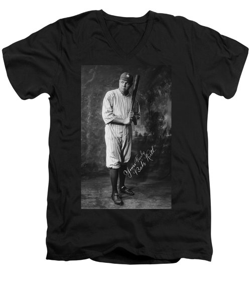 Babe 'the Sultan Of Swat' Ruth  1920 Men's V-Neck T-Shirt by Daniel Hagerman