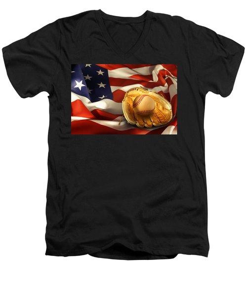 Baseball Men's V-Neck T-Shirt by Les Cunliffe