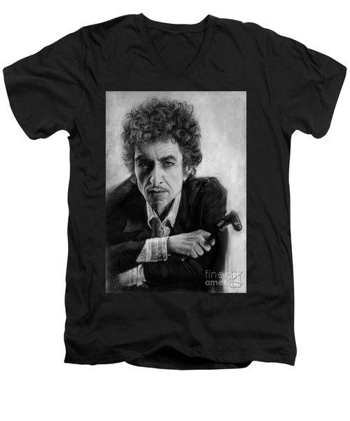 Bob Dylan Men's V-Neck T-Shirt by Andre Koekemoer