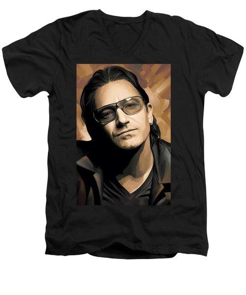 Bono U2 Artwork 2 Men's V-Neck T-Shirt by Sheraz A