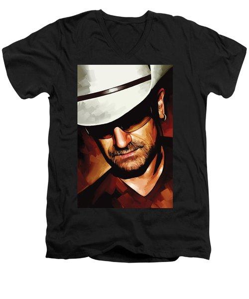 Bono U2 Artwork 3 Men's V-Neck T-Shirt by Sheraz A