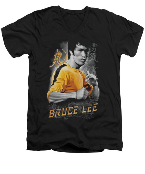 Bruce Lee - Yellow Dragon Men's V-Neck T-Shirt by Brand A