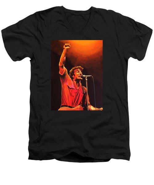 Bruce Springsteen Painting Men's V-Neck T-Shirt by Paul Meijering