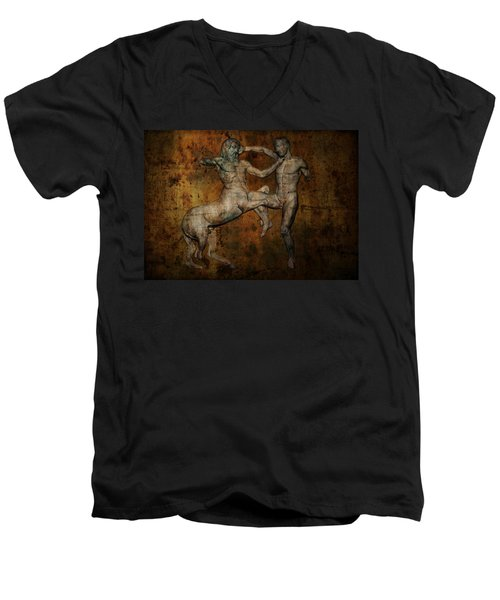 Centaur Vs Lapith Warrior Men's V-Neck T-Shirt by Daniel Hagerman