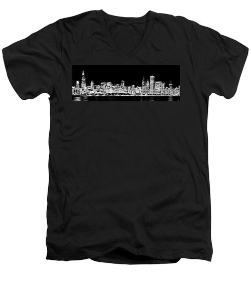 Chicago Skyline Fractal Black And White Men's V-Neck T-Shirt by Adam Romanowicz