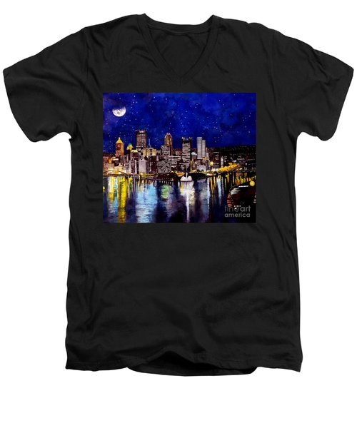 City Of Pittsburgh At The Point Men's V-Neck T-Shirt by Christopher Shellhammer