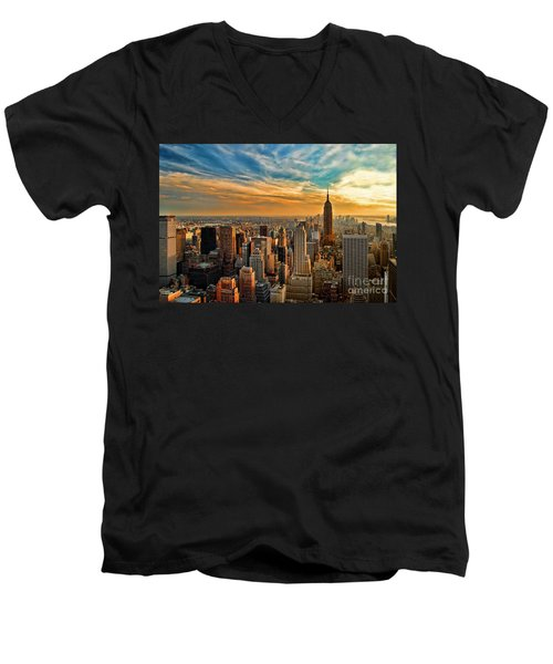 City Sunset New York City Usa Men's V-Neck T-Shirt by Sabine Jacobs