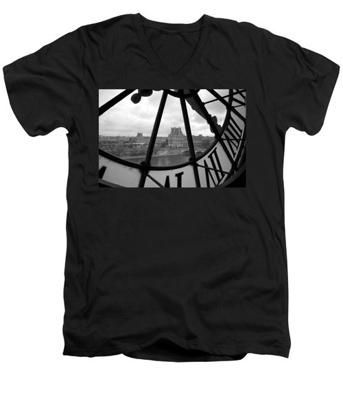 Clock At Musee D'orsay Men's V-Neck T-Shirt by Chevy Fleet