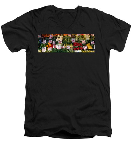 Close-up Of Pike Place Market, Seattle Men's V-Neck T-Shirt by Panoramic Images