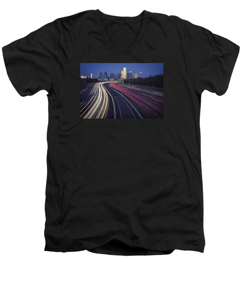 Dallas Afterglow Men's V-Neck T-Shirt by Rick Berk
