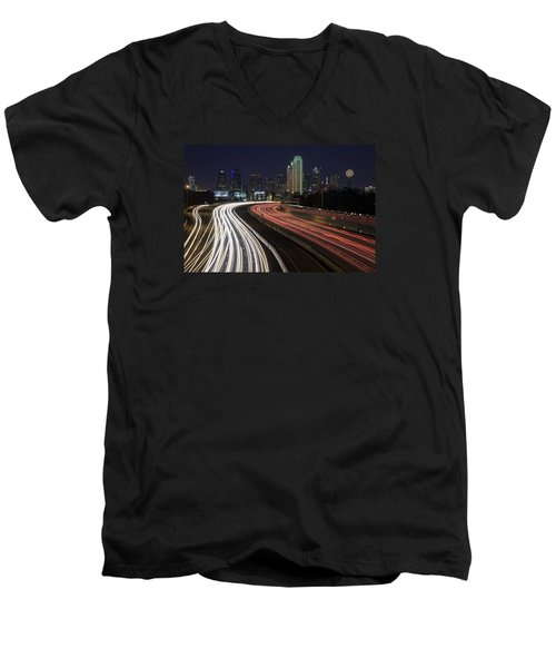 Dallas Night Men's V-Neck T-Shirt by Rick Berk