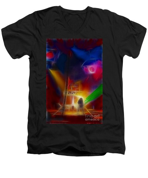 Def Leppard-adrenalize-gf10-fractal Men's V-Neck T-Shirt by Gary Gingrich Galleries