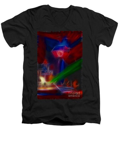 Def Leppard-adrenalize-gf12-fractal Men's V-Neck T-Shirt by Gary Gingrich Galleries