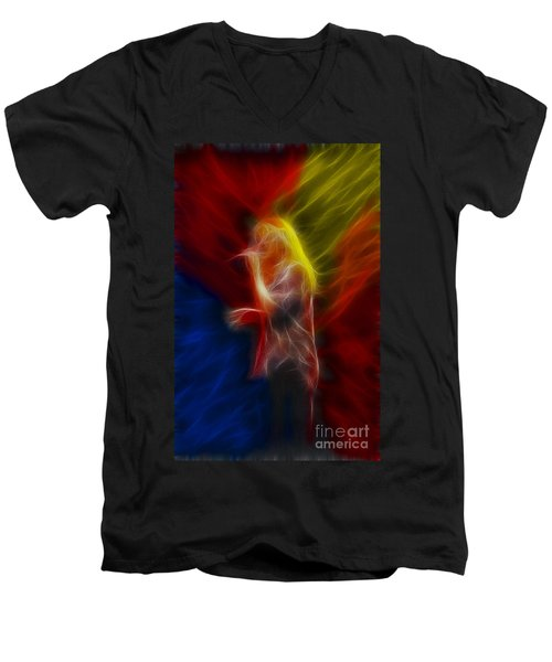 Def Leppard-adrenalize-joe-ga25-fractal Men's V-Neck T-Shirt by Gary Gingrich Galleries