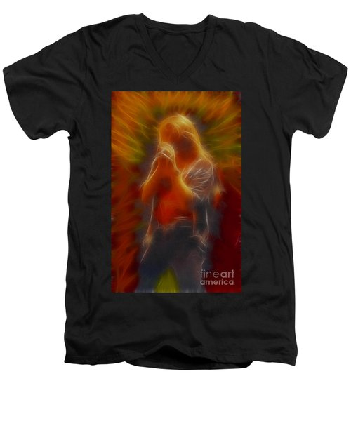 Def Leppard-adrenalize-joe-gb20-fractal Men's V-Neck T-Shirt by Gary Gingrich Galleries