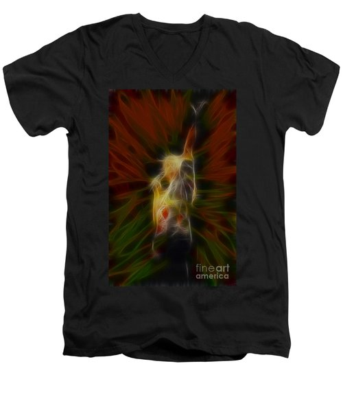 Def Leppard-adrenalize-joe-gb22-fractal Men's V-Neck T-Shirt by Gary Gingrich Galleries