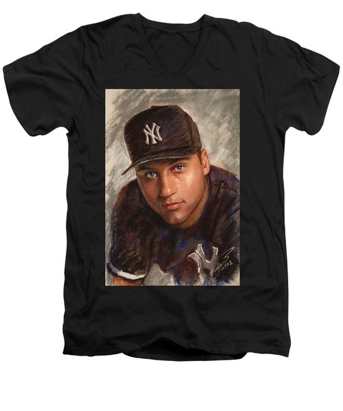 Derek Jeter Men's V-Neck T-Shirt by Viola El