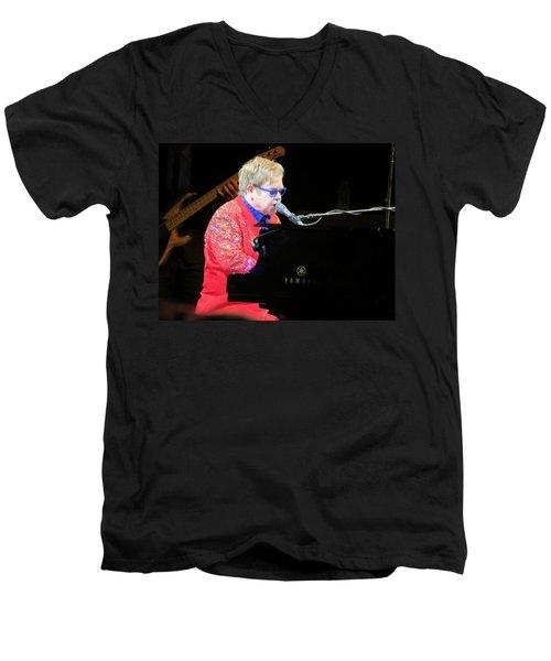 Elton John Live Men's V-Neck T-Shirt by Aaron Martens