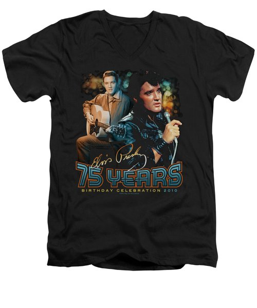 Elvis - 75 Years Men's V-Neck T-Shirt by Brand A
