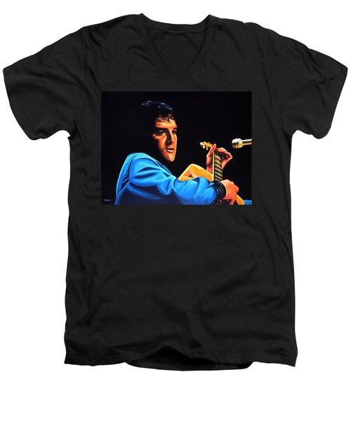 Elvis Presley 2 Painting Men's V-Neck T-Shirt by Paul Meijering