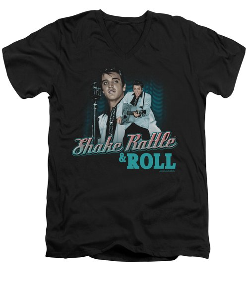 Elvis - Shake Rattle And Roll Men's V-Neck T-Shirt by Brand A