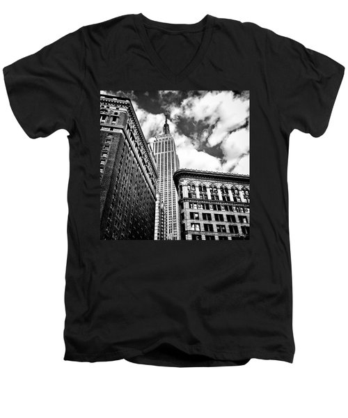 Empire State Building And New York City Skyline Men's V-Neck T-Shirt by Vivienne Gucwa