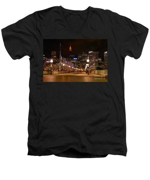 Foot Bridge By Night Men's V-Neck T-Shirt by Kaye Menner
