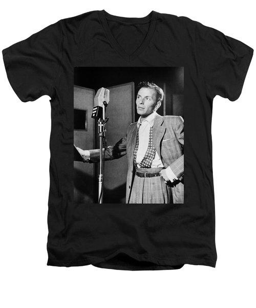 Frank Sinatra Men's V-Neck T-Shirt by Mountain Dreams