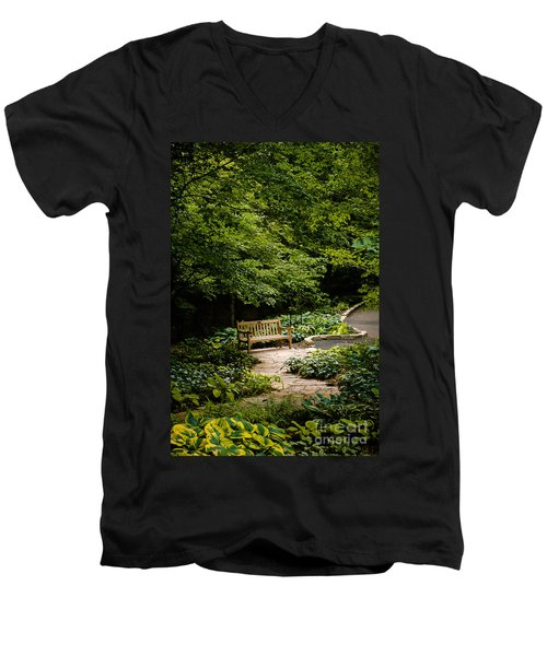 Garden Bench Men's V-Neck T-Shirt by Joe Mamer