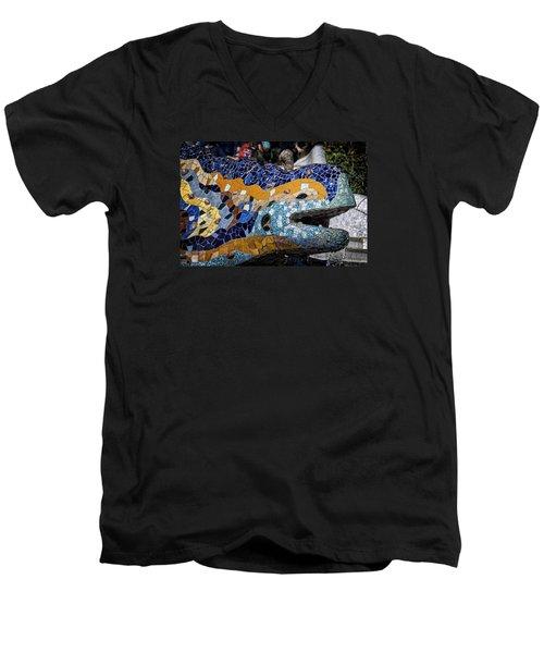 Gaudi Dragon Men's V-Neck T-Shirt by Joan Carroll