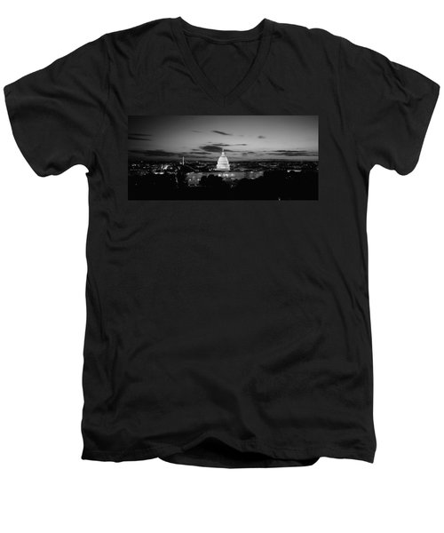 Government Building Lit Up At Night, Us Men's V-Neck T-Shirt by Panoramic Images