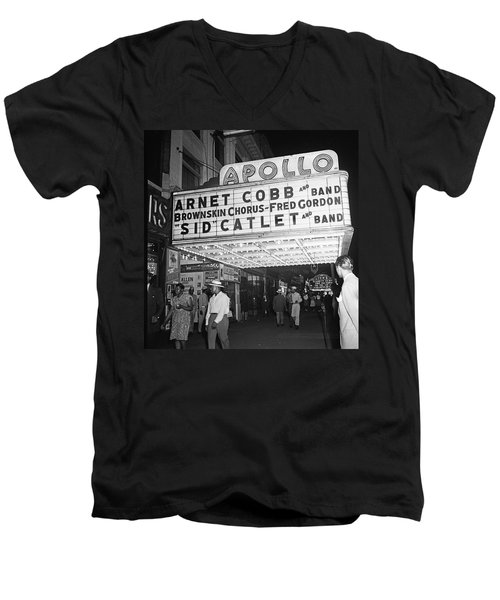 Harlem's Apollo Theater Men's V-Neck T-Shirt by Underwood Archives Gottlieb
