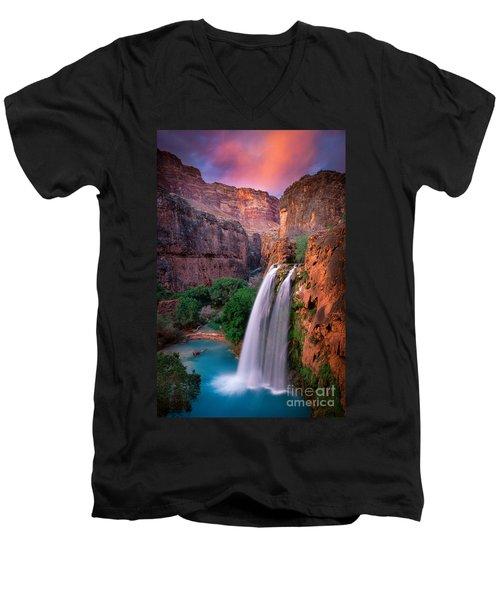 Havasu Falls Men's V-Neck T-Shirt by Inge Johnsson