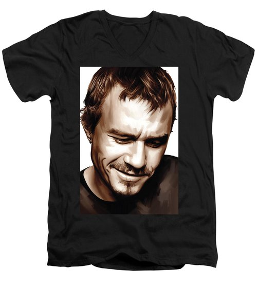 Heath Ledger Artwork Men's V-Neck T-Shirt by Sheraz A
