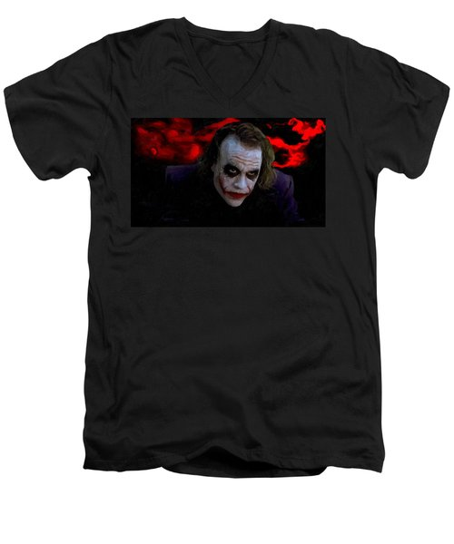 Heath Ledger As Joker Men's V-Neck T-Shirt by Image World