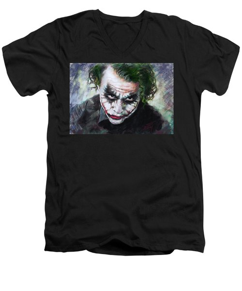 Heath Ledger The Dark Knight Men's V-Neck T-Shirt by Viola El