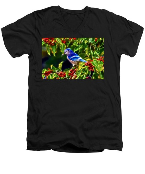 Hiding In The Berries Men's V-Neck T-Shirt by Stephen Younts
