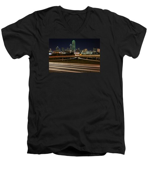 I-35e Dallas Men's V-Neck T-Shirt by Rick Berk