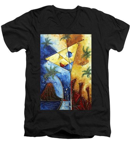 Island Martini  Original Madart Painting Men's V-Neck T-Shirt by Megan Duncanson