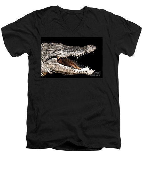 Jaws Men's V-Neck T-Shirt by Douglas Barnard